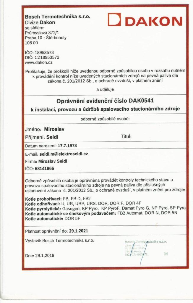 Certifikát Dakon